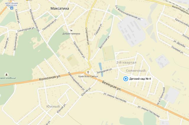 Детский сад ; 4 посёлка Максатиха на карте